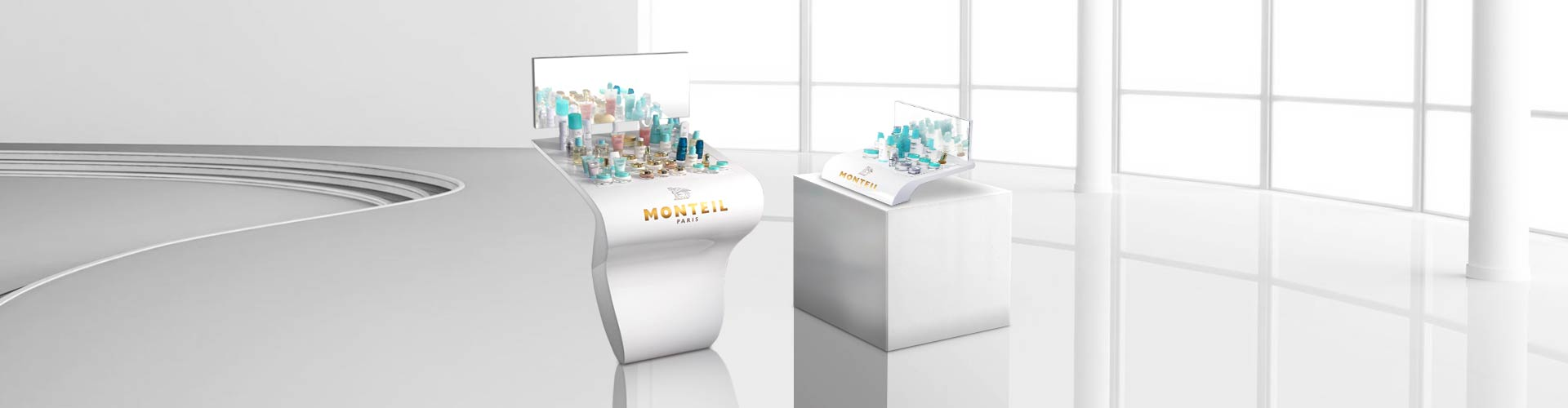 POS Display, Point of Sale Marketing, POS, Monteil, Cosmetics, Floor Display, Sales Stand